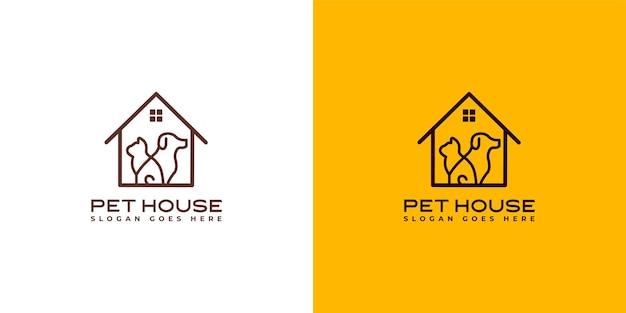 Kat en hond huisdier huis logo