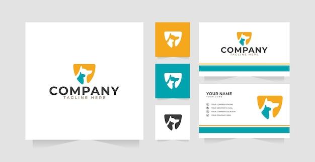 Kat en hond huisdierverzorging logo ontwerp inspiratie en visitekaartje