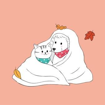Kat en hond van de beeldverhaal de de leuke herfst in algemene vector.