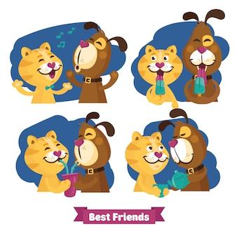 Kat en hond vriendschap