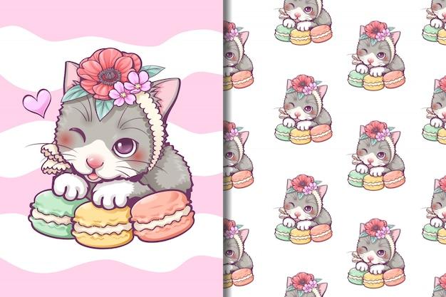 Kat en macaron behang en naadloos patroon