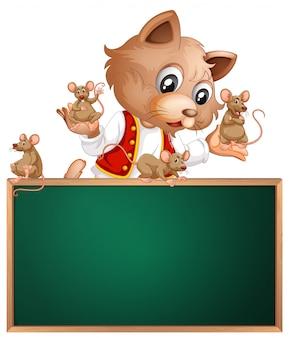 Kat en muis op schoolbord copyspace achtergrond