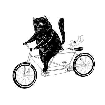 Kat en muis rijden op een fiets grappige vectorillustratie voor het afdrukken van kaartposters
