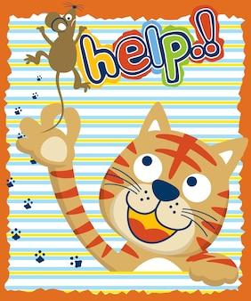 Kat en muisbeeldverhaal op kleurrijke gestreepte achtergrond