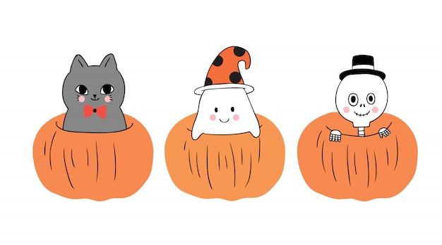 Kat en spook en skelet in grote pompoen