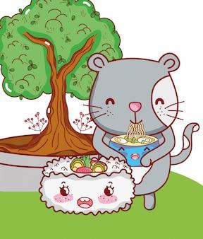 Kat en voedsel kawaii cartoons