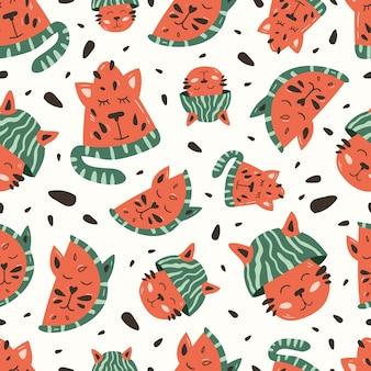 Kat en watermeloen naadloze patroon