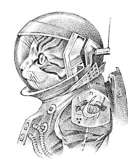 Kat gekleed in astronaut