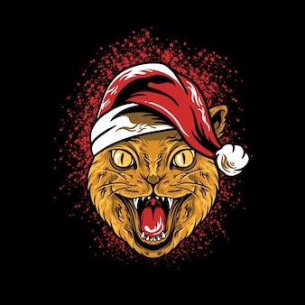 Kat hoofd kerstmis illustratie