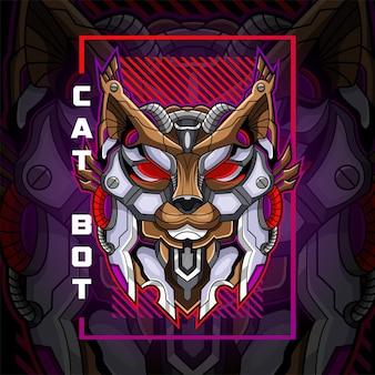 Kat hoofd robot mascotte logo