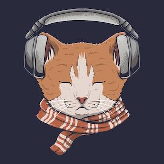 Kat hoofdtelefoon luisteren muziek vectorillustratie
