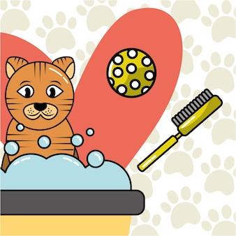 Kat huisdier wassen in het bad met bubbels bal en penseel