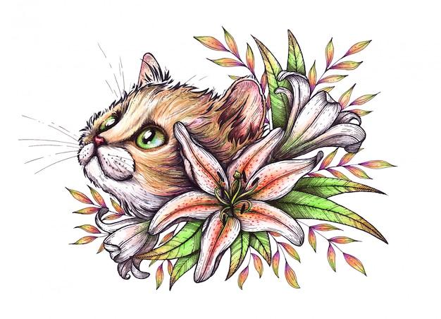 Kat in bloemen.