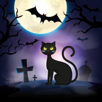 Kat in de donkere de scèneillustratie van nachthalloween