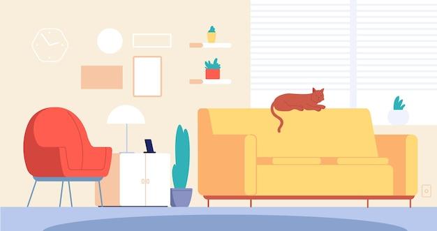 Kat in de kamer. levend interieur, stijlvol meubilair. modern appartement interieur met loungen huisdier op de bank. lounge ontwerp illustratie. interieur huis, meubelkamer binnen en kat