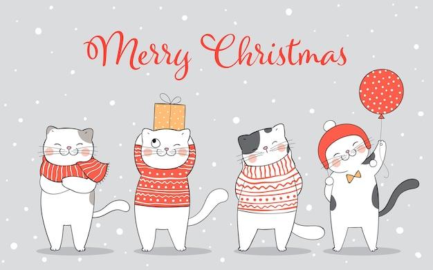 Kat in de sneeuwwinter nieuwjaar en kerstmis.