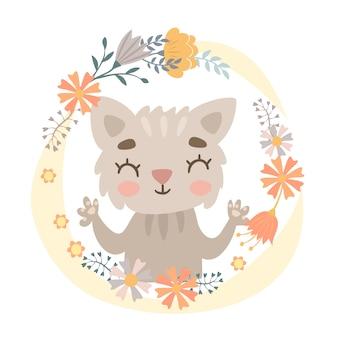 Kat in een bloem krans