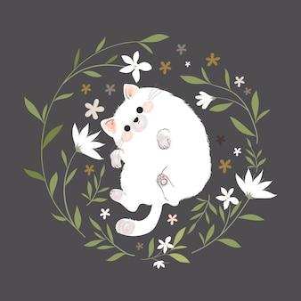 Kat in een bloemenkrans