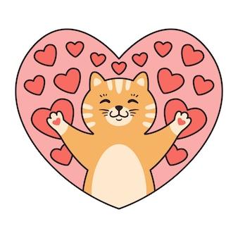 Kat in harten. wenskaarten voor valentijnsdag, verjaardag, moederdag.
