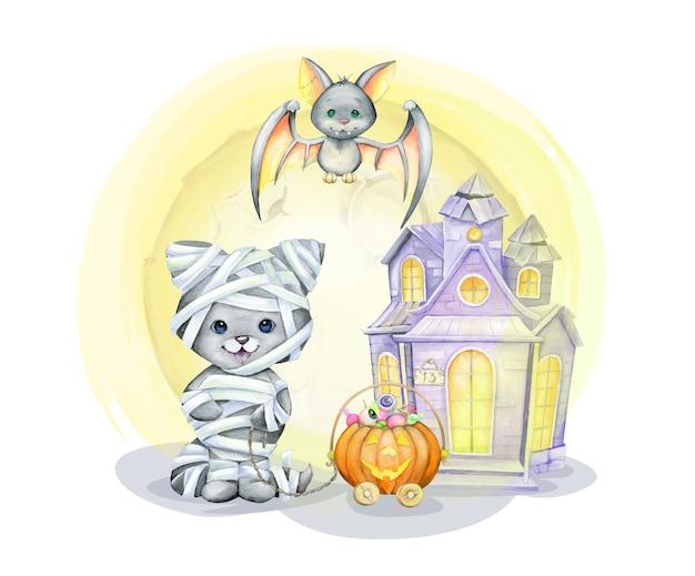 Kat in het kostuum van de mummie, vleermuis, pompoen, lief, thuis. aquarel concept, in cartoon stijl voor de halloween-vakantie