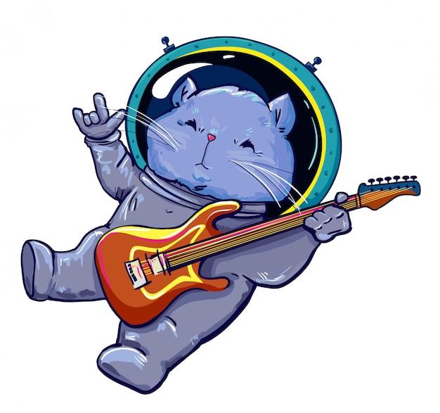 Kat in ruimte die de elektrische gitaarillustratie speelt