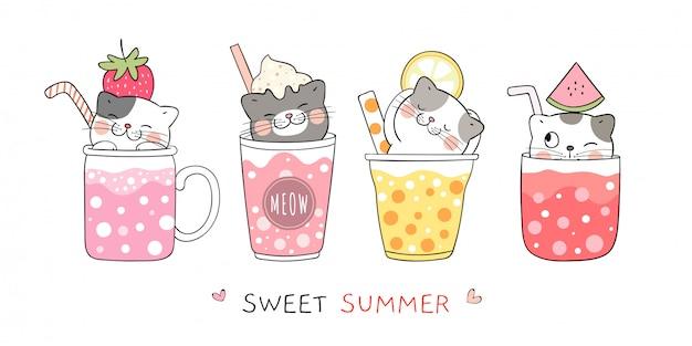 Kat in smoothie en sap voor de zomer.
