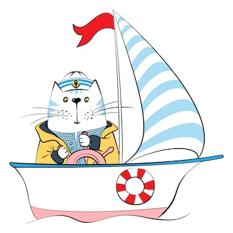 Kat kapitein op het schip