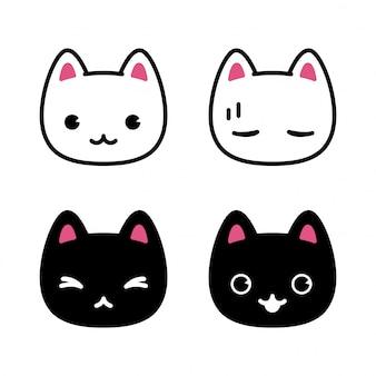 Kat karakter cartoon kitten pictogram illustratie