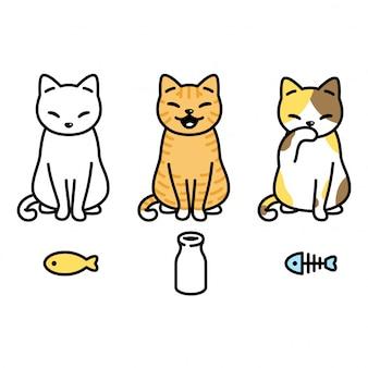 Kat karakter kitten lapjes cartoon