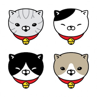 Kat karakter kitten lapjeskraag bell cartoon