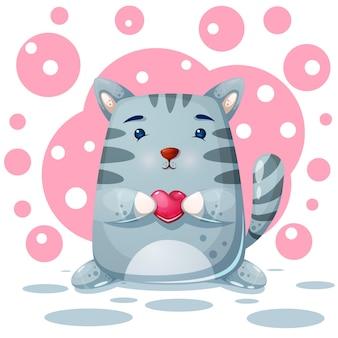 Kat, kat karakter. liefde illustratie