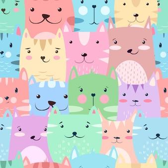 Kat, kat - schattig, grappig patroon