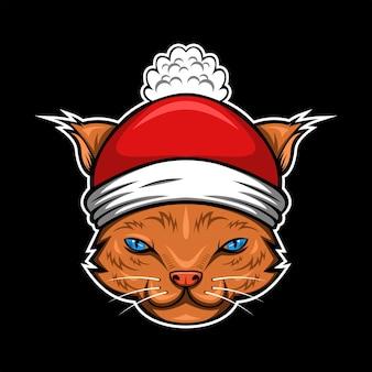 Kat kerst hoofd vectorillustratie