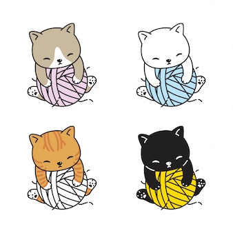 Kat kitten garen bal cartoon