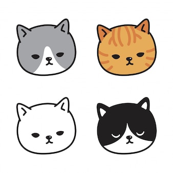 Kat kitten gezicht cartoon