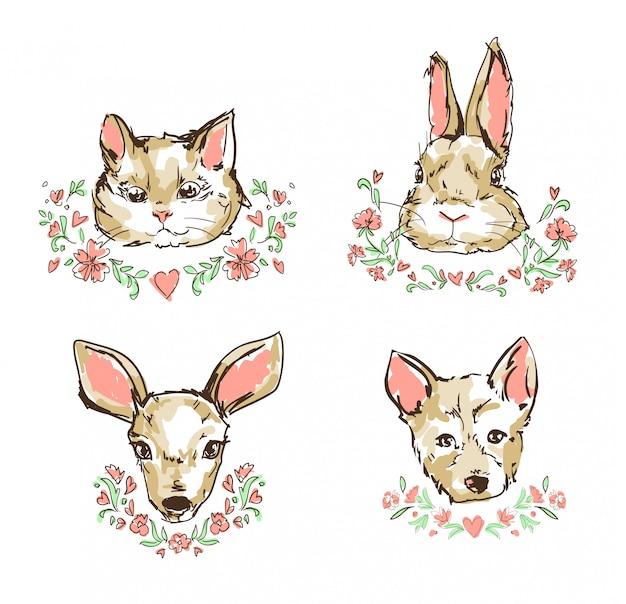 Kat, kitten, herten, konijn, konijn, hond, puppy schattige schets vectorillustratie, bloemen frame