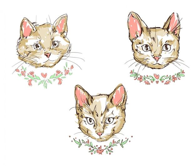 Kat, kitten, schattige kat set schets vectorillustratie