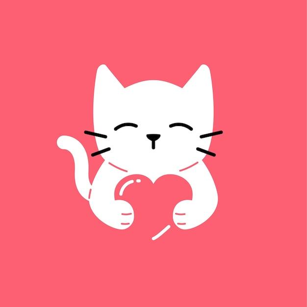 Kat liefde schattige glimlach knuffel minnaar vector logo pictogram illustratie