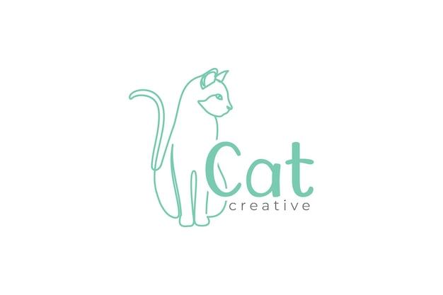Kat logo ontwerpsjabloon met lijn kunststijl ontwerp