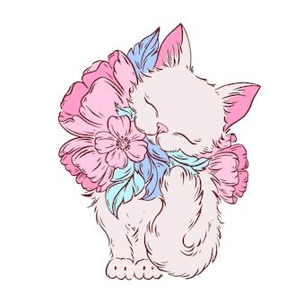 Kat met bloemen hand getrokken illustratie.