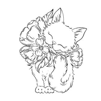 Kat met bloemen.