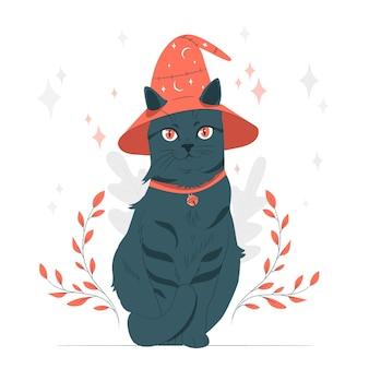 Kat met een heksenhoed concept illustratie