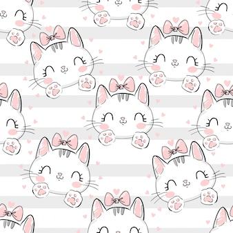 Kat met een strikpatroon.