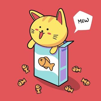 Kat met een voederbox voor huisdieren