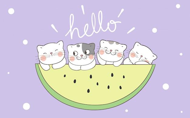 Kat met gele watermeloen voor de zomer.