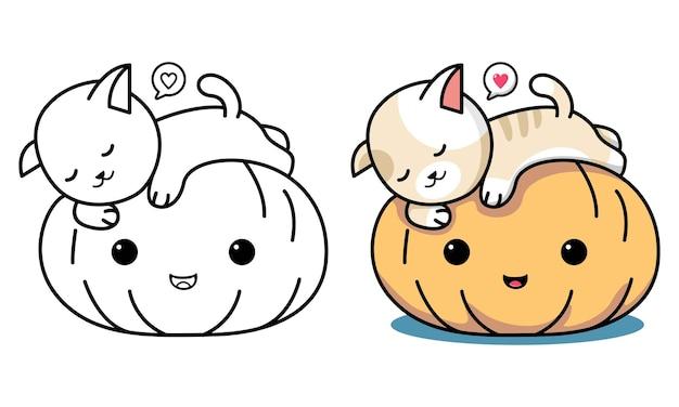 Kat met halloween pompoen kleurplaat voor kinderen