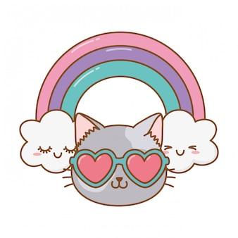 Kat met hart zonnebril