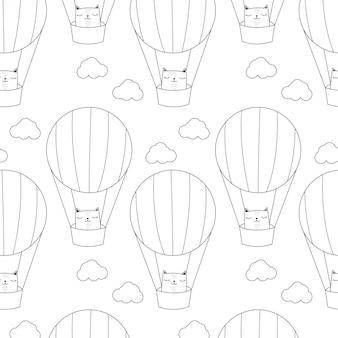 Kat met het patroon van de hete luchtballon