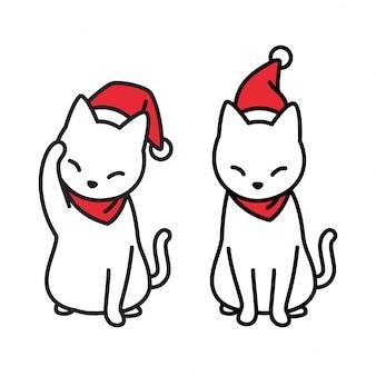 Kat met kerst kerstmuts