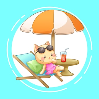 Kat met ligstoel en paraplu op het strand, vector